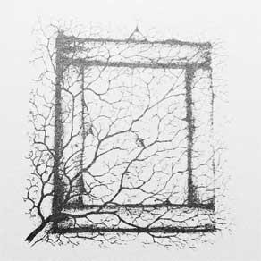 Zeichnung - ein Ast vor einem Bilderrahmen